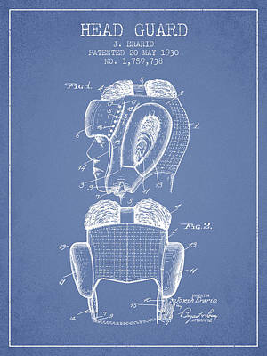 Head Guard Patent From 1930 - Light Blue Poster by Aged Pixel
