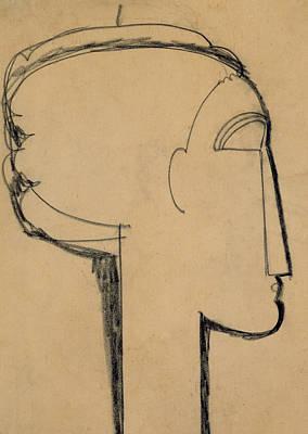 Head In Profile Poster by Amedeo Modigliani