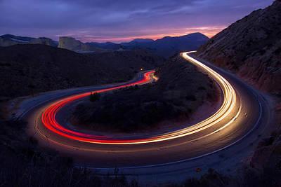 Headlights And Brake Lights Poster by Karl Klingebiel