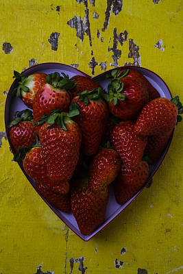 Sweetness Poster featuring the photograph Heart Box Full Of Strawberries by Garry Gay