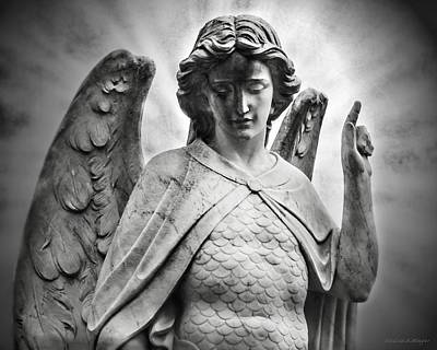 Heaven Waits  Archangel Michael Black And White Poster by Melissa Bittinger