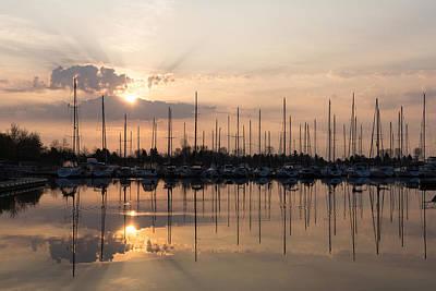 Heavenly Sunrays - Peaches-and-cream Sunrise With Boats Poster by Georgia Mizuleva