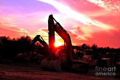 Heavy Equipment Sunset 2 Poster by Rolling Art Studio
