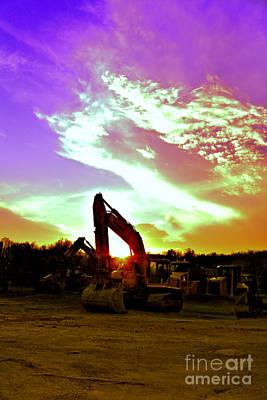Heavy Equipment Sunset Poster by Rolling Art Studio