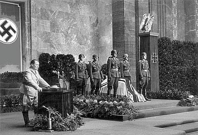Herman Goering Speaking At Rommels Funeral Service 1 Poster by David Lee Guss