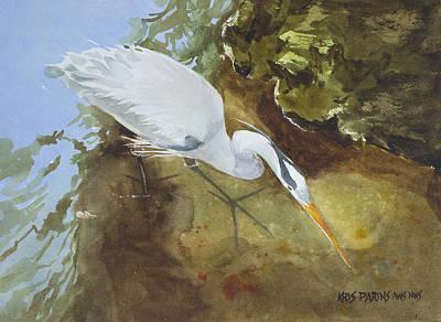 Heron Under The Bridge Poster by Kris Parins