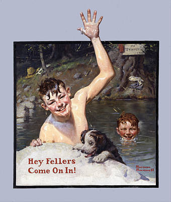 Hey Fellers Come On In Poster by Norman Rockwell