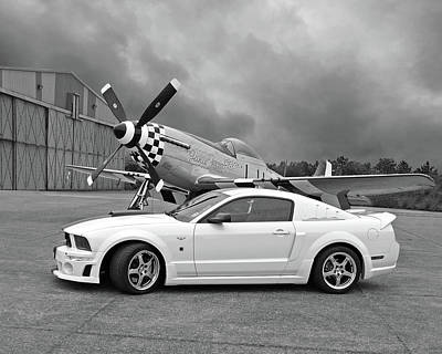 High Flyers - Mustang And P51 In Black And White Poster by Gill Billington