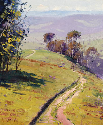Hilly Landscape Lithgow Poster by Graham Gercken