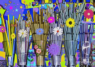 Hippie Hippie Straws Poster by Eleni Mac Synodinos