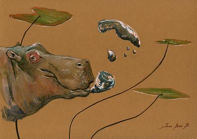 Hippo Bubbles Poster by Juan  Bosco