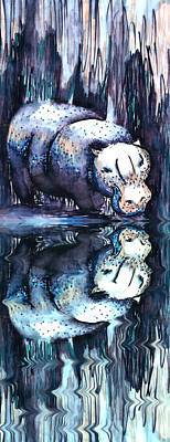 Hippo Reflection Poster by Geckojoy Gecko Books