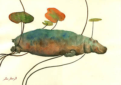 Hippo Swimming With Water Lilies Poster by Juan  Bosco