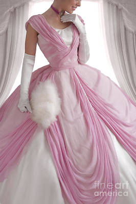 Historical Woman In A Pink Ball Gown  Poster by Lee Avison