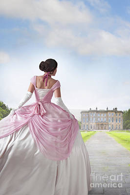 Historical Woman In A Pink Ballgown Approaching A Country Mansio Poster by Lee Avison