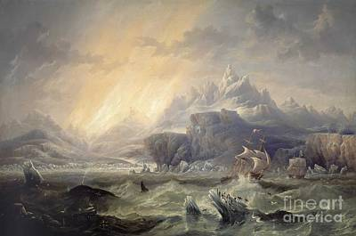 Hms Erebus And Terror In The Antarctic  Poster by MotionAge Designs