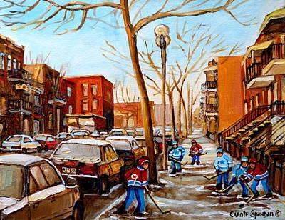 Hockey On St Urbain Street Poster by Carole Spandau