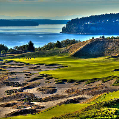 Hole #14 - Cape Fear - At Chambers Bay Poster by David Patterson