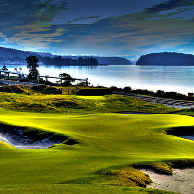 Hole #17 At Chambers Bay Poster by David Patterson