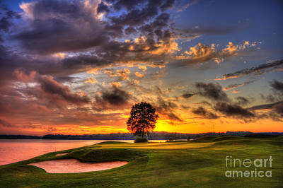 Hole In One Golf Sunset  Poster by Reid Callaway