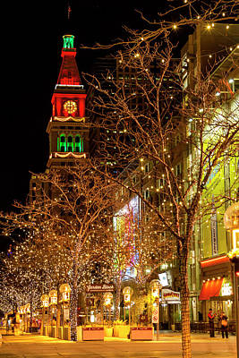 Holiday Lights On 16th Street Mall Denver Poster by Teri Virbickis