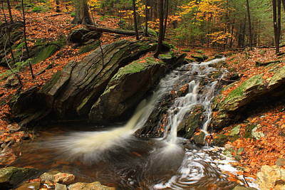Holland Glen Waterfall In Autumn Poster by John Burk
