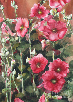 Hollyhocks Along The Fence Poster by Ann Sokolovich