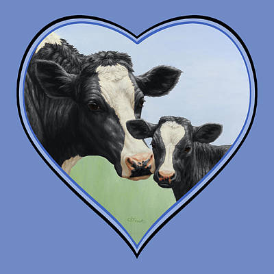 Holstein Cow And Calf Blue Heart Poster by Crista Forest