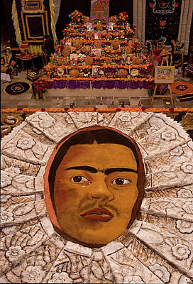 Homage To Frieda Kahlo - Altar And Sand Portrait Poster by Mitch Spence