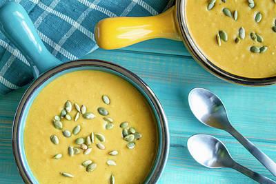 Homemade Fresh Pumpkin Soup Poster by Teri Virbickis