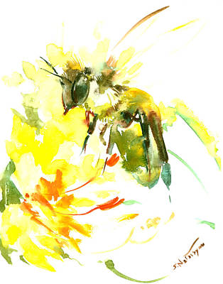 Honey Bee And Yellow Flower Poster by Suren Nersisyan