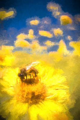 Honey Bee Mountain Daisy Impressionism Study 2 Poster by Scott Campbell