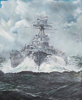Hood Heads For Bismarck Poster by Vincent Alexander Booth