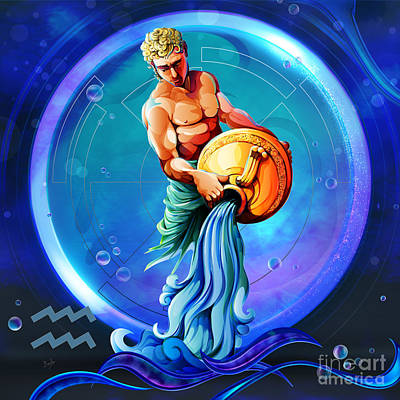 Horoscope Signs-aquarius Poster by Bedros Awak