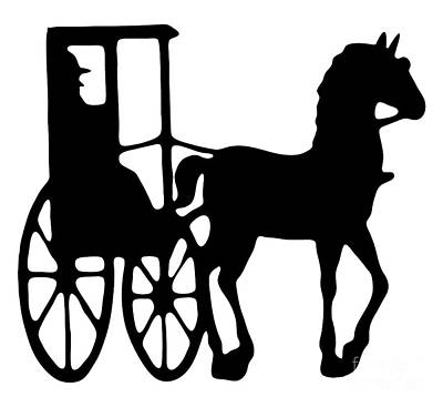 Horse And Buggy Vector Poster by Roger Witmer
