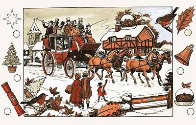 Horse And Carriage In The Snow Poster by English School
