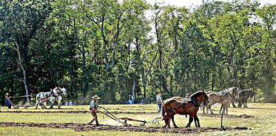 Horse Plow Pull, Howell Farm 9-15 4 Teams Shown. Poster by Valerie Stein