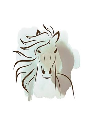 Horse Wall Art - Elegant Bright Pastel Color Animals Poster by Wall Art Prints