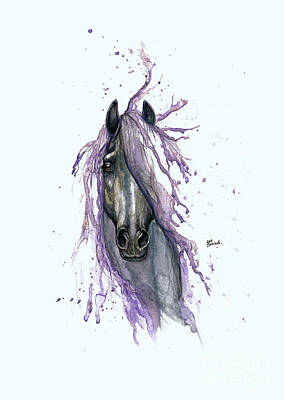 Horse With Purple Mane 2014  Poster by Angel Tarantella