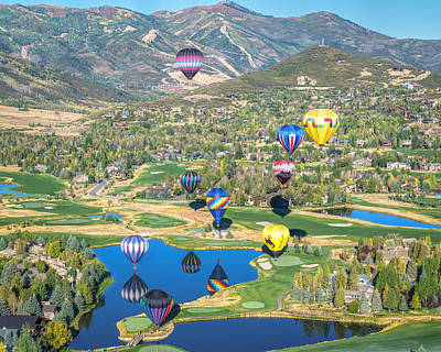 Hot Air Balloons Over Park City Poster by James Udall
