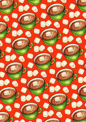 Hot Cocoa Pattern Poster by Kelly Gilleran