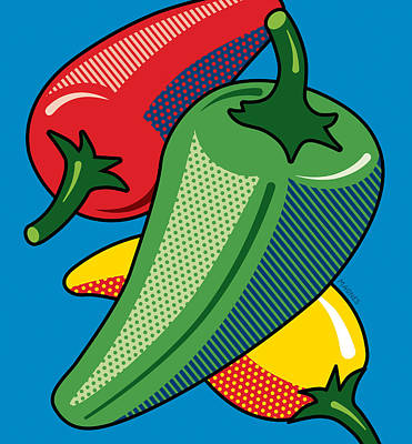 Hot Peppers On Blue Poster by Ron Magnes