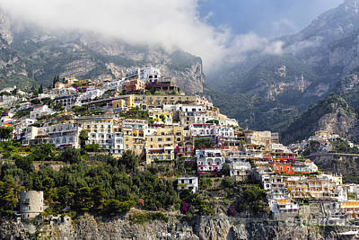 Houses Built On A Hillside Positano Italy Poster by George Oze