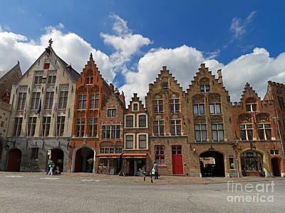 Houses Of Jan Van Eyck Square In Bruges Belgium Poster by Louise Heusinkveld
