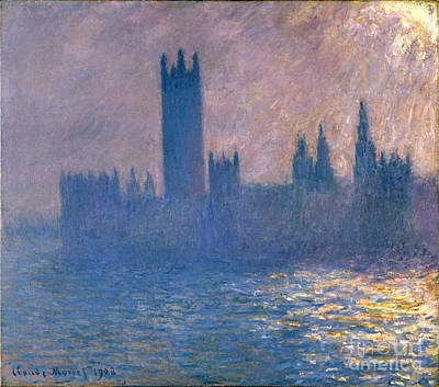 Houses Of Parliament - Sunlight Effect Poster by Claude Monet