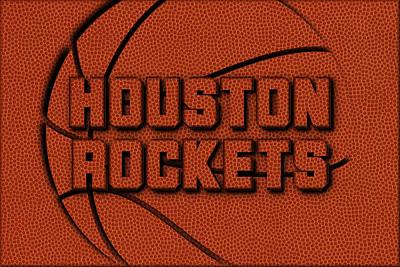 Houston Rockets Leather Art Poster by Joe Hamilton