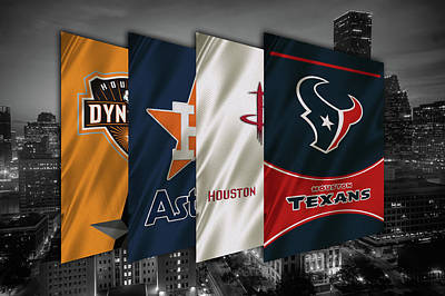 Houston Sports Teams 2 Poster by Joe Hamilton