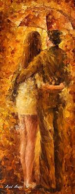 Hug Under The Rain - Palette Knife Oil Painting On Canvas By Leonid Afremov Poster by Leonid Afremov
