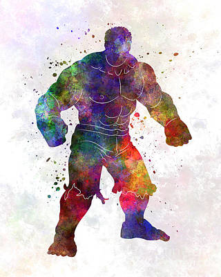 Hulk 01 In Watercolor Poster by Pablo Romero