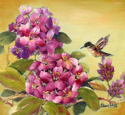 Hummingbird With Rhododendron Poster by Eileen  Fong